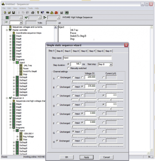 Sequence's intuitive programming interface makes quick work of controlling your microsystem.