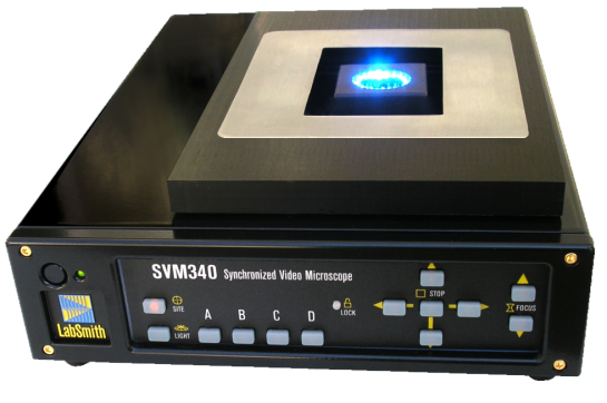 Synchronous video microscope. Includes control and acquisition software, RS-170-BW camera module, LED-B illuminator module, 10X objective, and motorized X-Y focus traverse stage. Includes choice of PCI video capture card or USB video adapter.
