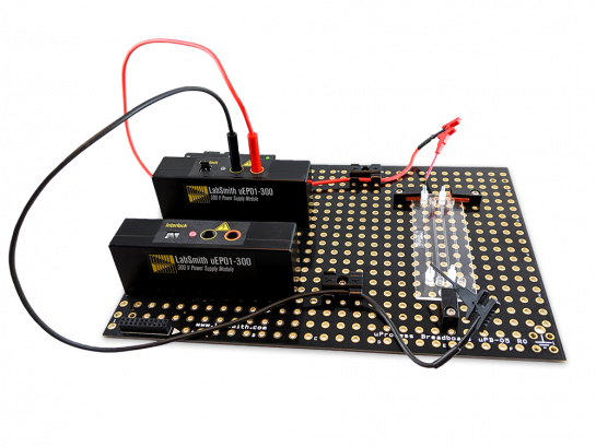 LabSmith Electrophoresis Starter Kit includes  everything you need to use the uEP300 Electrophoresis Power Module. Microfluidic chip is not included. Two sets of cables and clips are included (only one set is shown).