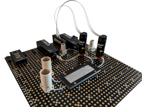 """LabSmith Microfluidic Mixing Demonstration Kit includes everything you need to complete the mixing experiment in the application note, """"Zero Dead-Volume Mixing with uProcess and Hummingbird Nano Chips."""" Kit includes the novel x-style mixing chip from Hummingbird Nano."""